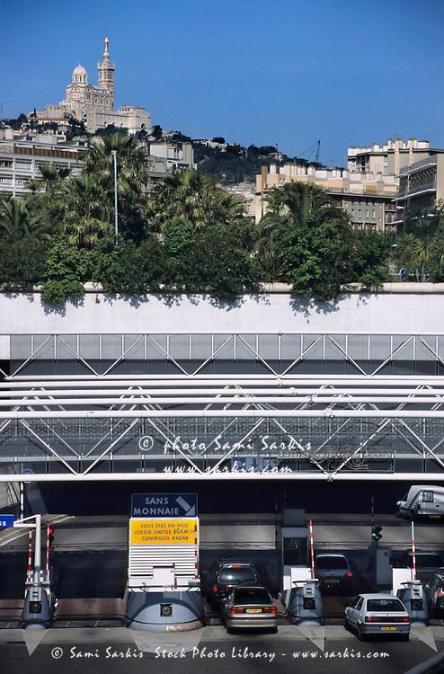 Cars entering the Prado Carenage Tunnel, Marseille, France.