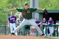 Starting Pitcher Eric Whaley #52 delivers a pitch during a  game against the Clemson Tigers at Doug Kingsmore Stadium on March 31, 2012 in Clemson, South Carolina. The Tigers won the game 3-1. (Tony Farlow/Four Seam Images).