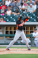 Julio Borbon (5) of the Norfolk Tides at bat against the Charlotte Knights at BB&T BallPark on July 17, 2015 in Charlotte, North Carolina.  The Knights defeated the Tides 5-4.  (Brian Westerholt/Four Seam Images)