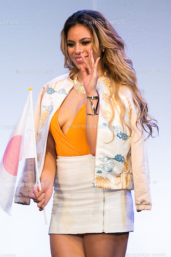 Dina-Jane Hansen, a member of the American five-piece girl group Fifth Harmony poses for the cameras during a fan event on July 9, 2016, in Tokyo, Japan. Fifth Harmony is in Japan for the first time to promote their new song Work from Home after finishing their South American tour. (Photo by Rodrigo Reyes Marin/AFLO)