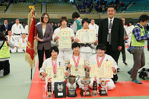 Saitama Sakae High School team group, <br /> MARCH 21, 2014 - Judo : <br /> The 36th All Japan High School Judo Tournament <br /> Women's Victory Cerenony <br /> at Nippon Budokan, Tokyo, Japan. <br /> (Photo by YUTAKA/AFLO SPORT) [1040]