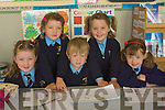 BOOKS: Studing were junior infants of Killury National School, Causeway on Tuesday on their first day. l-r: Marissa Hanly, Ciara Sawyers, Joshua O'Connell, Cara Walshe and Grainne Nelan.... ....