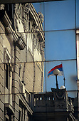 Belgrade, Serbia. Theatre - reflection of the flag on the wall.