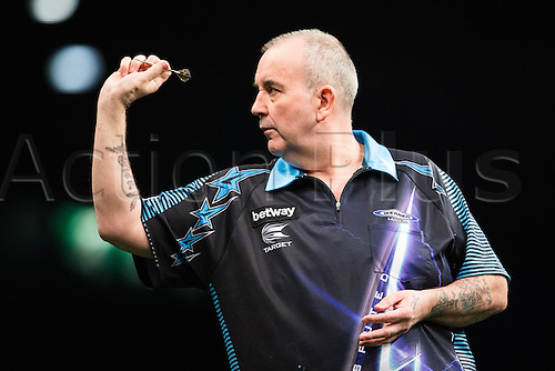 28.04.2016. Barclaycard Arena, Birmingham, England. Betway PDC Premier League Darts. Night 13. Phil Taylor in his match against Peter Wright.