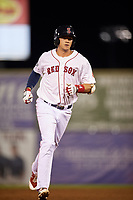 Salem Red Sox third baseman Bobby Dalbec (29) rounds the bases after hitting a sixth inning home run during a game against the Lynchburg Hillcats on May 10, 2018 at Haley Toyota Field in Salem, Virginia.  Lynchburg defeated Salem 11-5.  (Mike Janes/Four Seam Images)
