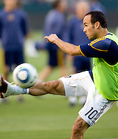 LA Galaxy forward Landon Donovan (10) warming up before the match at Home Depot Center stadium in Carson, California on Saturday May 15, 2010.  ..