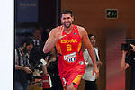 Felipe Reyes during the official presentation of Spain´s basketball team for the 2014 Spain Basketball Championship in Madrid, Spain. July 24, 2014. (ALTERPHOTOS/Victor Blanco)