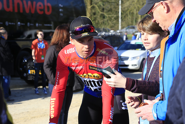 Dutch National Champion Dylan Groenewgen (NED) Team Lotto NL-Jumbo at the team bus before the start of Gent-Wevelgem in Flanders Fields 2017, running 249km from Denieze to Wevelgem, Flanders, Belgium. 26th March 2017.<br /> Picture: Eoin Clarke | Cyclefile<br /> <br /> <br /> All photos usage must carry mandatory copyright credit (&copy; Cyclefile | Eoin Clarke)