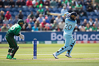 Jason Roy (England) dawn the wicket and drives through the covers during England vs Bangladesh, ICC World Cup Cricket at Sophia Gardens Cardiff on 8th June 2019