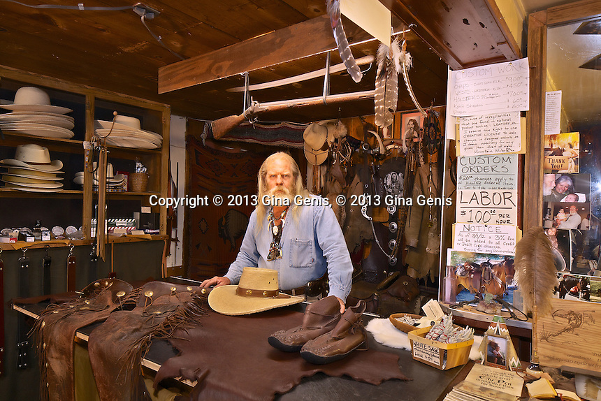 Mountain Mike in his leather shop on North Circle Drive