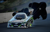 Jul, 20, 2012; Morrison, CO, USA: NHRA funny car driver Alexis DeJoria during qualifying for the Mile High Nationals at Bandimere Speedway. Mandatory Credit: Mark J. Rebilas-