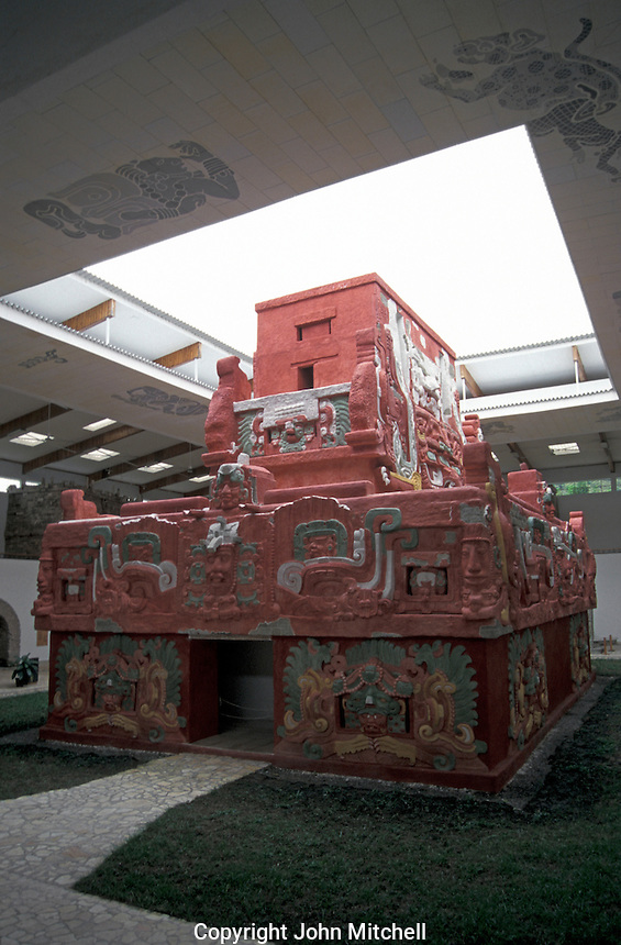 Replica of the Rosalila Temple in the Copan Sculpture Museum , Copan, Honduras