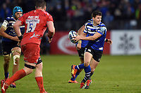 Freddie Burns of Bath Rugby goes on the attack. Gallagher Premiership match, between Bath Rugby and Sale Sharks on December 2, 2018 at the Recreation Ground in Bath, England. Photo by: Patrick Khachfe / Onside Images