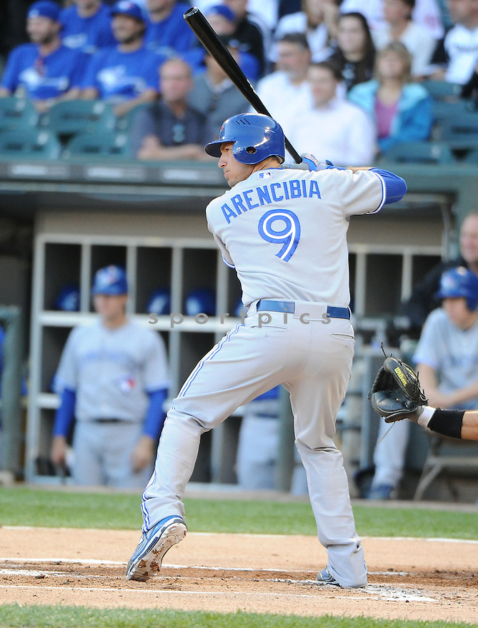 JP ARENCIBIA (9) of the Toronto Blue Jays in action during the Blue Jays game against the Chicago White Sox on June 6, 2012 at US Cellular Field in Chicago, IL. The Blue Jays beat the White Sox 4-0.
