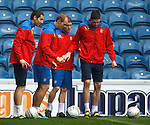Broadfoot, Whittaker, Davis and Lafferty having a right good look examination of the BF1 corner flag spot at Ibrox