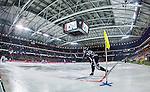 Solna 2014-03-16 Bandy SM-final herrar Sandvikens AIK - V&auml;ster&aring;s SK :  <br /> Sandvikens Erik S&auml;fstr&ouml;m sl&aring;r en h&ouml;rna i Friends Arena under SM-finalen mellan Sandvikens AIK och V&auml;ster&aring;s SK <br /> (Foto: Kenta J&ouml;nsson) Nyckelord:  SM SM-final final herr herrar VSK V&auml;ster&aring;s SAIK Sandviken  inomhus interi&ouml;r interior