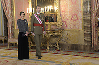 MADRID, SPAIN- January 06: King Felipe VI of Spain, Queen Letizia of Spain attend the New Year's Military Parade at the Palacio Real on January 6, 2019 in Madrid, Spain January 06, 2019.  ***NO SPAIN***<br /> CAP/MPI/RJO<br /> ©RJO/MPI/Capital Pictures