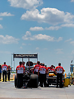 Jun 8, 2019; Topeka, KS, USA; Crew members for NHRA top fuel driver Leah Pritchett during qualifying for the Heartland Nationals at Heartland Motorsports Park. Mandatory Credit: Mark J. Rebilas-USA TODAY Sports