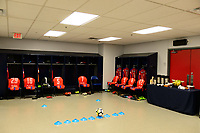 Harrison, NJ - Thursday March 01, 2018: CD Olimpia locker room. The New York Red Bulls defeated C.D. Olimpia 2-0 (3-1 on aggregate) during a 2018 CONCACAF Champions League Round of 16 match at Red Bull Arena.