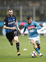 Calcio, Serie A: Inter - Napoli, Milano, stadio Giuseppe Meazza (San Siro), 11 marzo 2018.<br /> Napoli's Lorenzo Insigne (r) in action with Inter's Marcelo Brozovic (l) during the Italian Serie A football match between Inter Milan and Napoli at Giuseppe Meazza (San Siro) stadium, March 11, 2018.<br /> UPDATE IMAGES PRESS/Isabella Bonotto