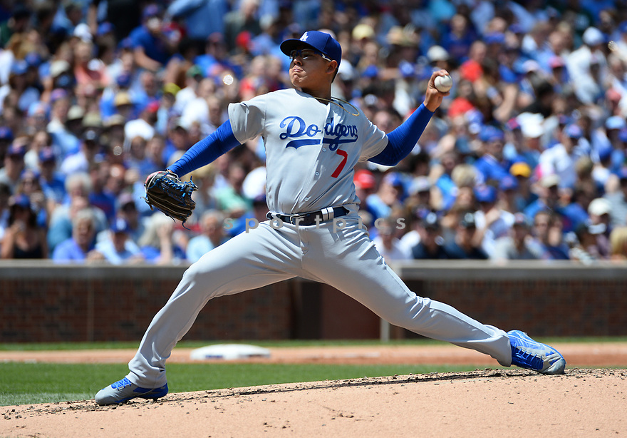 Los Angeles Dodgers Julio Urias (7) during a game against the Chicago Cubs on June 2, 2016 at Wrigley Field in Chicago, IL. The Cubs beat the Dodgers 7-2.