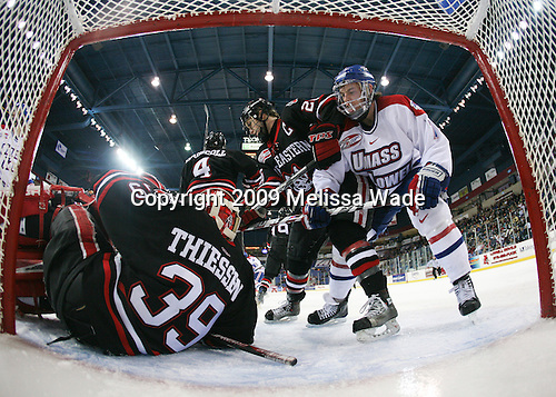 Brad Thiessen (Northeastern - 39), Jim Driscoll (Northeastern - 4), Joe Vitale (Northeastern - 26), Maury Edwards (UMass-Lowell - 7) - The Northeastern University Huskies defeated the University of Massachusetts-Lowell Riverhawks 3-1 on Saturday, February 28, 2009, at the Paul E. Tsongas Arena in Lowell, Massachusetts.