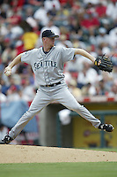 Ryan Franklin of the Seattle Mariners pitches during a 2002 MLB season game against the Los Angeles Angels at Angel Stadium, in Los Angeles, California. (Larry Goren/Four Seam Images)