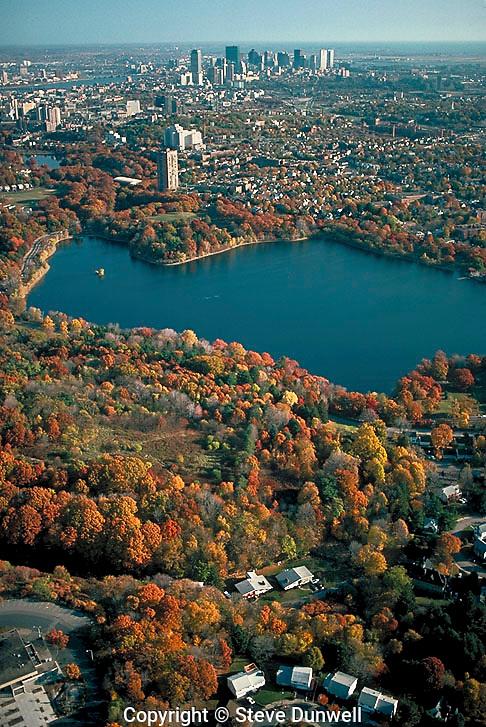 Jamaica Pond, Boston, aerial
