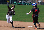 THOMASTON,  CT-041619JS07-Thomaston's Aurelia Barker (15) throws to first to try to turn a double-play after getting Watertown's Brianna Catalani (24) out on a force play at second, during their game Tuesday at Thomaston High School. The runner was called safe at first base. <br />  Jim Shannon Republican American