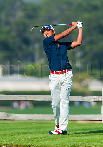 14.02.2016. Carmel, California, USA.  Hiroshi Iwata of Japan tees off from the 7th hole at Pebble Beach Golf links  during the final  round of the AT&T Pebble Beach National Pro-Am  in Pebble Beach, CA.