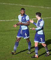 Aaron Pierre & Joe Jacobson of Wycombe Wanderers after the Sky Bet League 2 match between Wycombe Wanderers and Plymouth Argyle at Adams Park, High Wycombe, England on 14 March 2017. Photo by Andy Rowland / PRiME Media Images.
