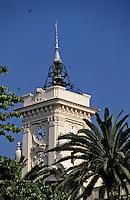 France/Corse/Corse-du-Sud/2A/Ajaccio: L'hotel de ville Beffroi - construit entre 1824 et 1830 - et les palmiers