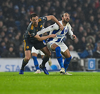 Leicester City's Jonny Evans (left) battles with Brighton & Hove Albion's Glenn Murray (right) <br /> <br /> Photographer David Horton/CameraSport<br /> <br /> The Premier League - Brighton and Hove Albion v Leicester City - Saturday 24th November 2018 - The Amex Stadium - Brighton<br /> <br /> World Copyright © 2018 CameraSport. All rights reserved. 43 Linden Ave. Countesthorpe. Leicester. England. LE8 5PG - Tel: +44 (0) 116 277 4147 - admin@camerasport.com - www.camerasport.com
