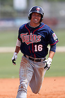 Minnesota Twins shortstop Levi Michael #16 runs the bases during a minor league spring training intrasquad game at the Lee County Sports Complex on March 25, 2012 in Fort Myers, Florida.  (Mike Janes/Four Seam Images)