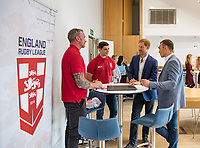 Picture by Paul Currie/SWpix.com - 04/09/2017 - Rugby League - Prince Harry Visits the Rugby  League - Manchester City Football Academy, Manchester, England - Prince Harry talks to Jamie Peacock, Paul Wellens and kevin Sinfield