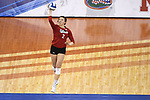 KANSAS CITY, MO - DECEMBER 16: Mikaela Foecke (2) of the University of Nebraska serves the ball during the Division I Women's Volleyball Championship held at Sprint Center on December 16, 2017 in Kansas City, Missouri. (Photo by Jamie Schwaberow/NCAA Photos via Getty Images)
