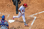 30 April 2017: Washington Nationals third baseman Anthony Rendon crosses the plate in the 3rd inning after hitting the first of his three home runs of the day against the New York Mets at Nationals Park in Washington, DC. The Nationals defeated the Mets 23-5, with the Nationals setting several individual and team records, in the third game of their weekend series. Mandatory Credit: Ed Wolfstein Photo *** RAW (NEF) Image File Available ***