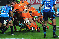 Agustin Creevy looks to the tryline before scoring the first try during the Super Rugby match between the Blues and Jaguares at Eden Park in Auckland, New Zealand on Friday, 28 April 2018. Photo: Dave Lintott / lintottphoto.co.nz