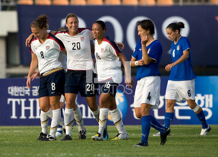 Abby Wambach, Angela Hucles, Lauren Cheney. The USWNT defeated, 2-0, at the Suwon Sports Center in Suwon, South Korea.