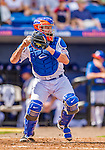 23 February 2013: New York Mets' catcher John Buck in action during a Spring Training Game against the Washington Nationals at Tradition Field in Port St. Lucie, Florida. The Mets defeated the Nationals 5-3 in their Grapefruit League Opening Day game. Mandatory Credit: Ed Wolfstein Photo *** RAW (NEF) Image File Available ***