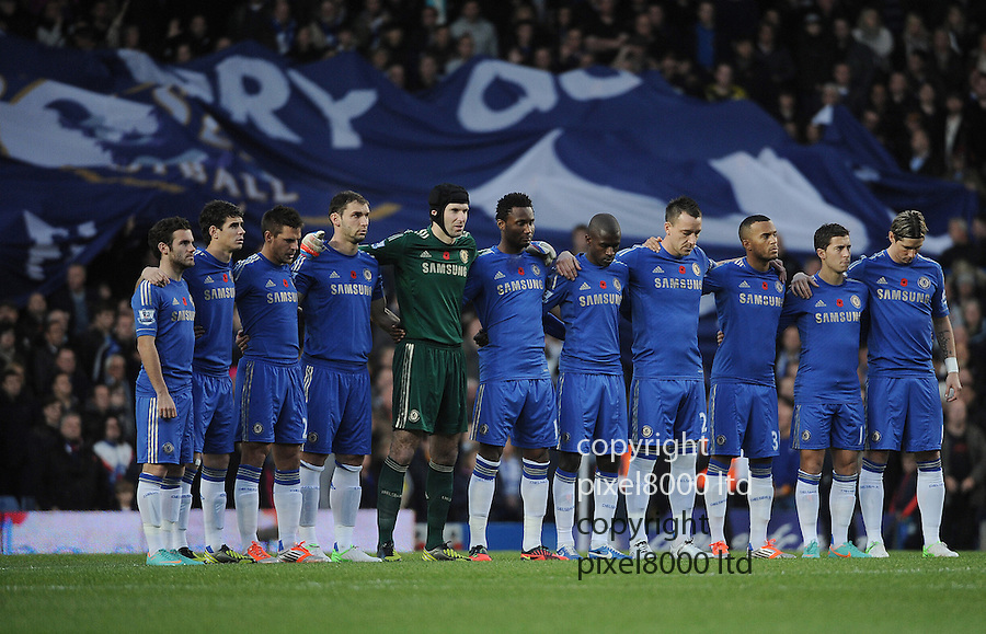 Chelsea players pay their respects during the Barclays Premier League match between Chelsea and Liverpool at Stanford Bridge on Sunday November 11, 2012 in London, England Picture Zed Jameson/pixel 8000 ltd.
