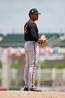 GCL Orioles relief pitcher Jayvien Sandridge (41) gets ready to deliver a pitch during a game against the GCL Red Sox on August 9, 2018 at JetBlue Park in Fort Myers, Florida.  GCL Red Sox defeated GCL Orioles 10-4.  (Mike Janes/Four Seam Images)