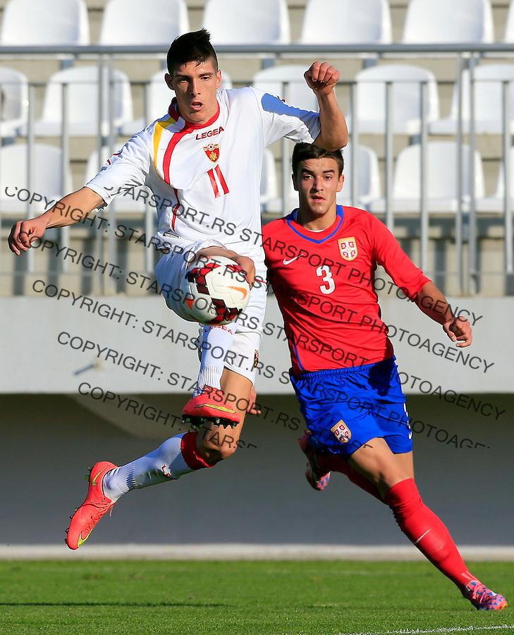 Fudbal, Prijateljska utakmica-friendly match<br /> Srbija U19 v Crna Gora U19<br /> Filip Kukulicic (L) and Djordje Basanovic<br /> Stara Pazova, 15.11.2014.<br /> foto: Srdjan Stevanovic/Starsportphoto &copy;