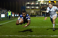 Semesa Rokoduguni of Bath Rugby dives for his second try of the match. Premiership Rugby Cup match, between Bath Rugby and Gloucester Rugby on February 3, 2019 at the Recreation Ground in Bath, England. Photo by: Patrick Khachfe / Onside Images