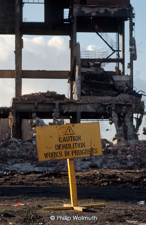 Demolition of the Grimethorpe coal-fired power station following the closure of Grimethorpe colliery, South Yorkshire.