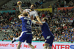 20.01.2013 Barcelona, Spain. IHF men's world championship, eighth.final. Picture show Nikola Karabatic   in action during game between Island  vs France at Palau st Jordi