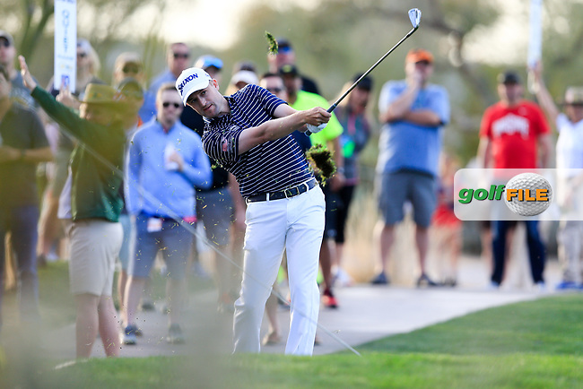 Russell Knox (SCO) on the 15th fairway during the 2nd round of the Waste Management Phoenix Open, TPC Scottsdale, Scottsdale, Arisona, USA. 01/02/2019.<br /> Picture Fran Caffrey / Golffile.ie<br /> <br /> All photo usage must carry mandatory copyright credit (&copy; Golffile | Fran Caffrey)