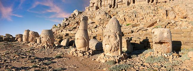 Statue heads at sunrise, from right, Eagle, Herekles, Apollo, Zeus, Commagene, Antiochus, & Eagle, 62 BC Royal Tomb of King Antiochus I Theos of Commagene, east Terrace, Mount Nemrut or Nemrud Dagi summit, near Adıyaman, Turkey