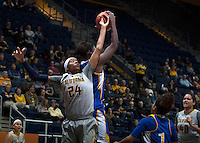 Courtney Range of California fights for a loose ball during the game against Bakersfield at Haas Pavilion in Berkeley, California on December 15th, 2013.  California defeated Bakersfield Roadrunners, 70-51.