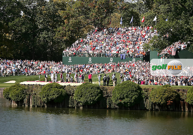 29 SEP 12  The 18th tee at Saturdays foresome matches  at The 39th Ryder Cup at The Medinah Country Club in Medinah, Illinois.